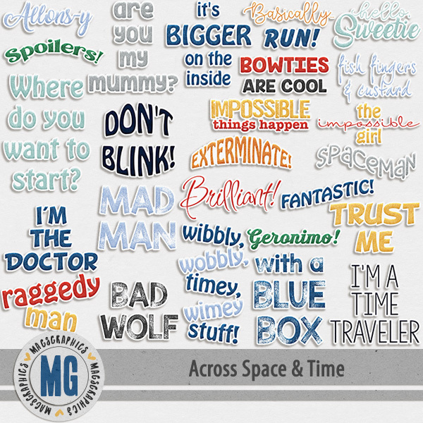 Across Space & Time Word Art Stickers