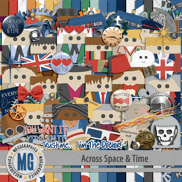 Across Space & Time Kit Digital Art - Digital Scrapbooking Kits