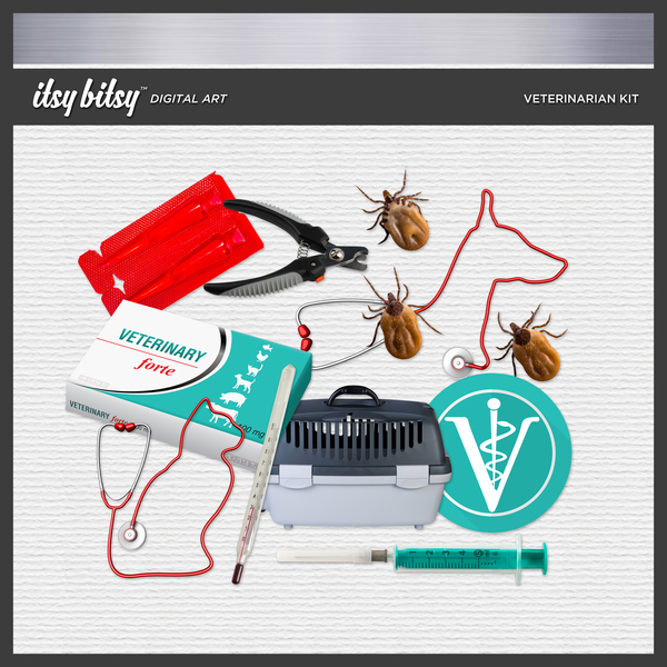 Veterinarian Kit Digital Art - Digital Scrapbooking Kits