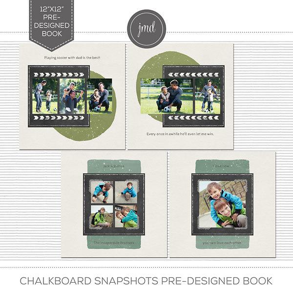 Chalkboard Snapshots Pre-Designed Book Digital Art - Digital Scrapbooking Kits