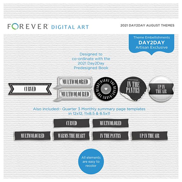 2021 Day2Day August Themes Digital Art - Digital Scrapbooking Kits