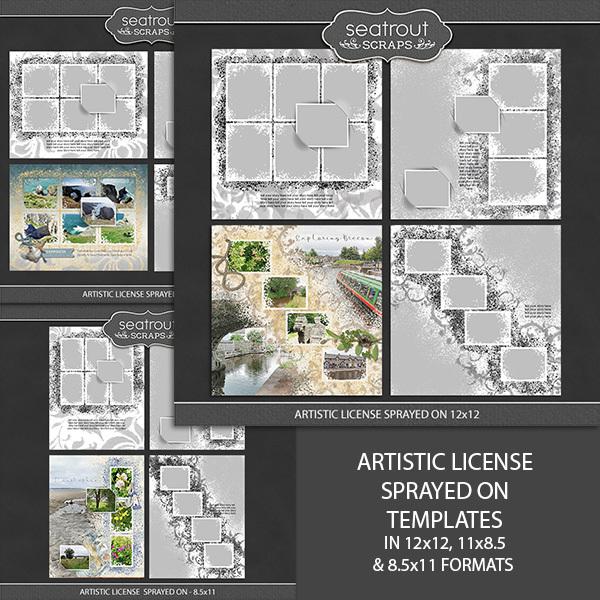Artistic License Sprayed On Bundle Digital Art - Digital Scrapbooking Kits