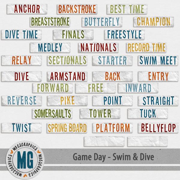 Game Day Swim & Dive Tags Digital Art - Digital Scrapbooking Kits