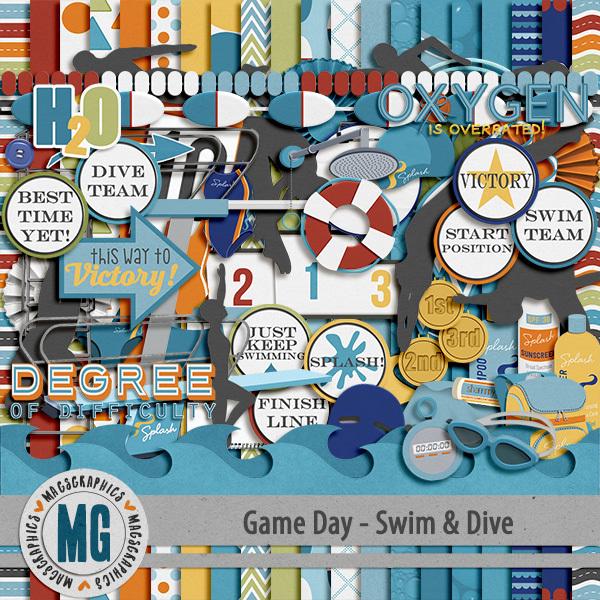 Game Day Swim & Dive Kit Digital Art - Digital Scrapbooking Kits
