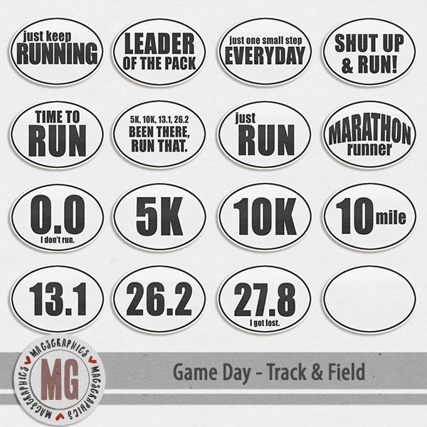 Game Day Track & Field Stickers Digital Art - Digital Scrapbooking Kits