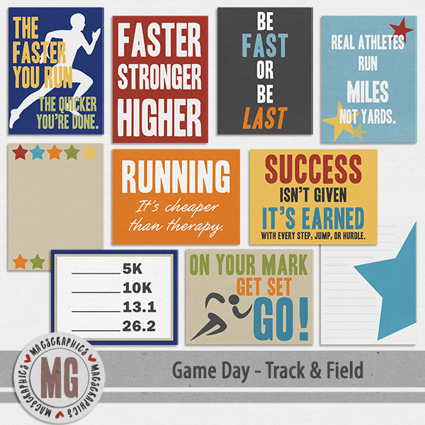Game Day Track & Field Journal Cards
