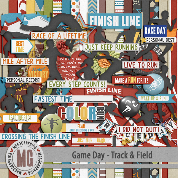 Game Day Track & Field Kit Digital Art - Digital Scrapbooking Kits