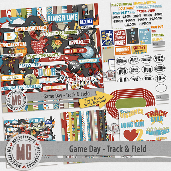 Game Day Track & Field Bundle Digital Art - Digital Scrapbooking Kits