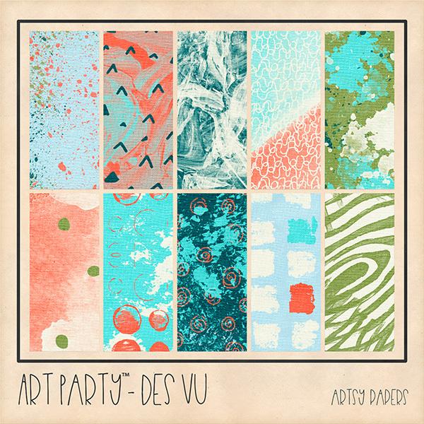 Des Vu - Artsy Papers Digital Art - Digital Scrapbooking Kits