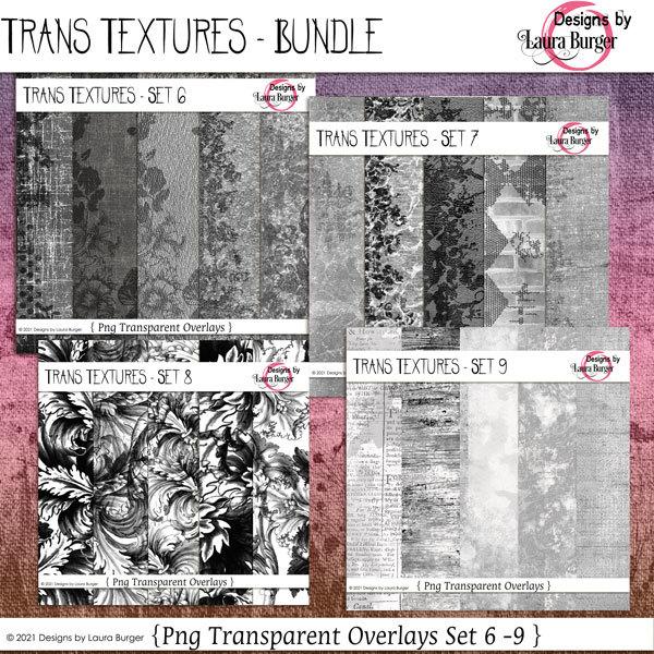 Trans Textures Set 6 thru 9 Bundle Digital Art - Digital Scrapbooking Kits