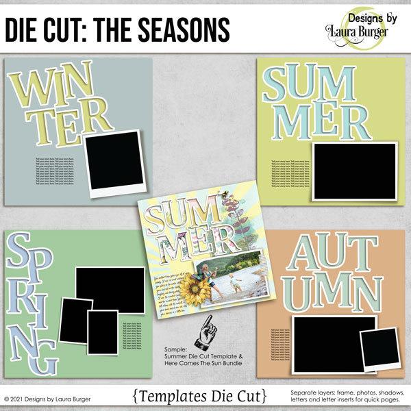 Die Cuts The  Seasons Digital Art - Digital Scrapbooking Kits