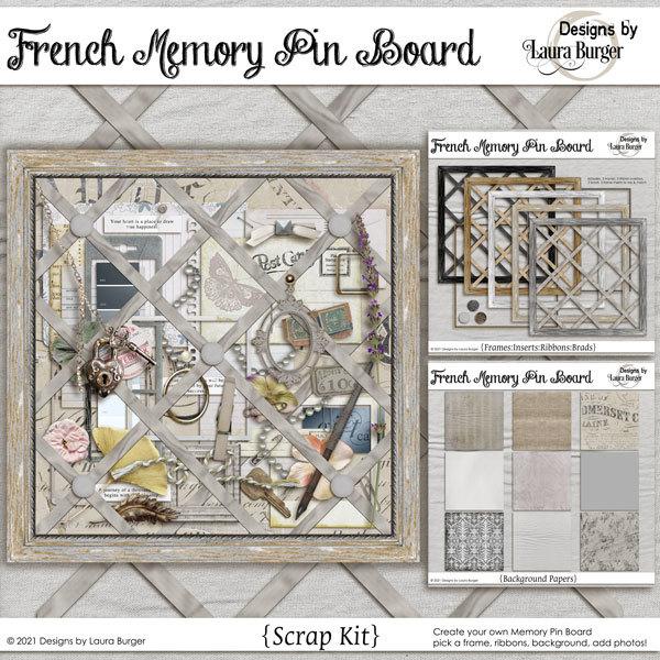 French Memo Pin Boards Scrap Kit Digital Art - Digital Scrapbooking Kits
