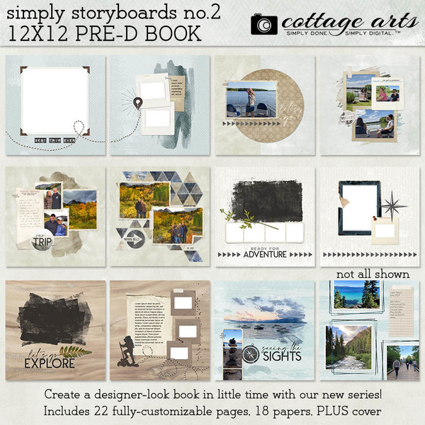 Simply Storyboards 2 12x12 Pre-designed Book Digital Art - Digital Scrapbooking Kits
