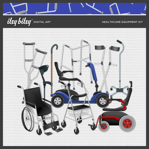 Healthcare Equipment Kit Digital Art - Digital Scrapbooking Kits