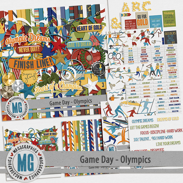 Game Day Olympics Bundle Digital Art - Digital Scrapbooking Kits