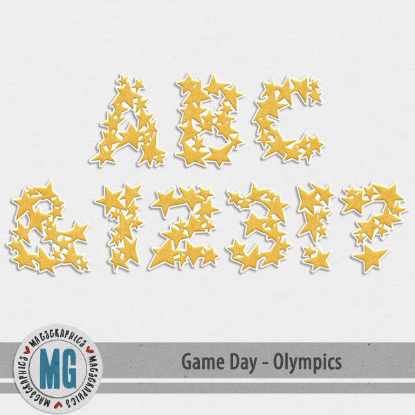 Game Day Olympics Alpha Digital Art - Digital Scrapbooking Kits