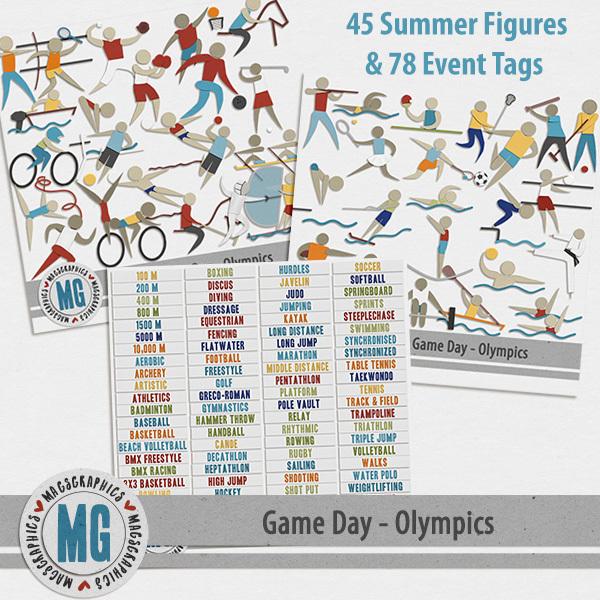 Game Day Olympics Summer Pack Digital Art - Digital Scrapbooking Kits