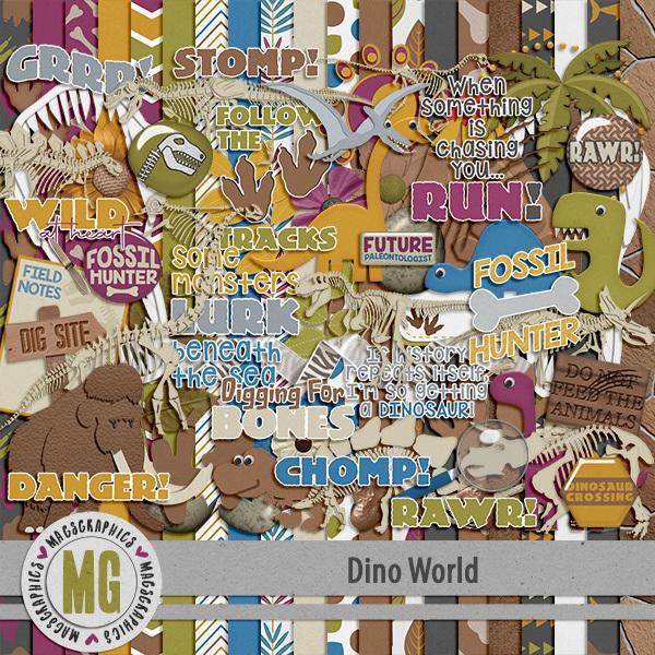 Dino World Kit Digital Art - Digital Scrapbooking Kits