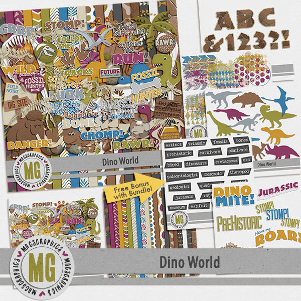 Dino World Bundle Digital Art - Digital Scrapbooking Kits