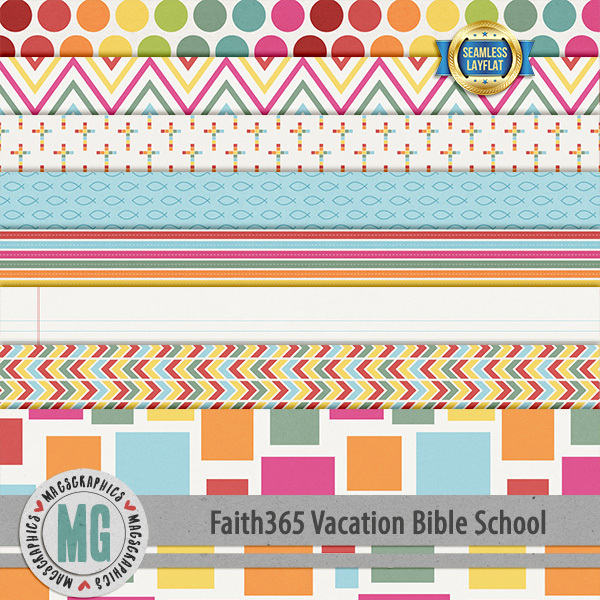 Faith365 Vacation Bible School SLF Papers Digital Art - Digital Scrapbooking Kits