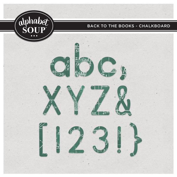 Back to the Books Alpha - Chalkboard Digital Art - Digital Scrapbooking Kits