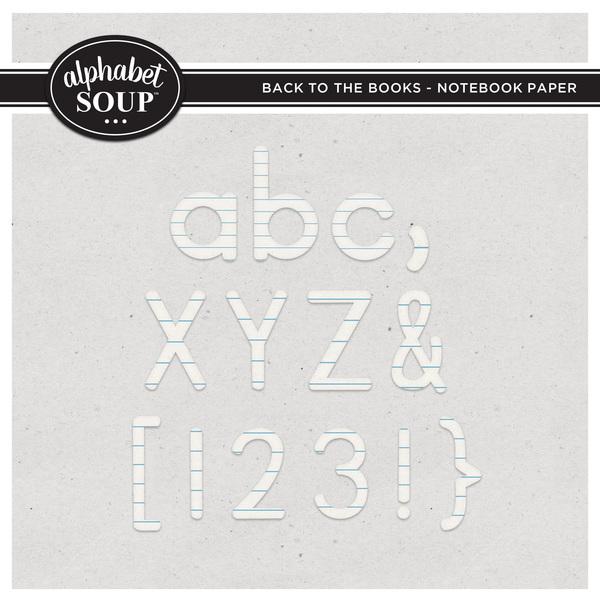 Back to the Books Alpha - Notebook Paper Digital Art - Digital Scrapbooking Kits