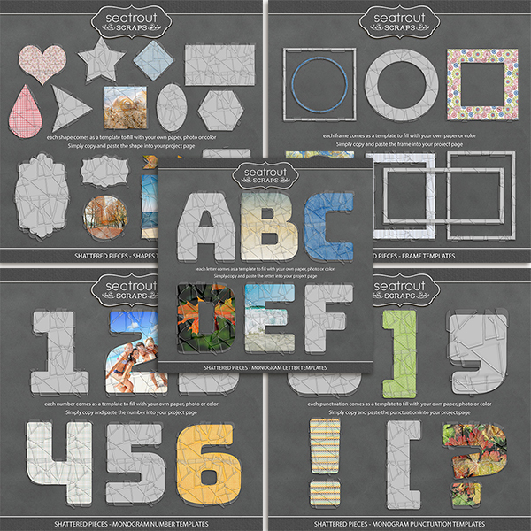 Shattered Pieces - Template Bundle Digital Art - Digital Scrapbooking Kits