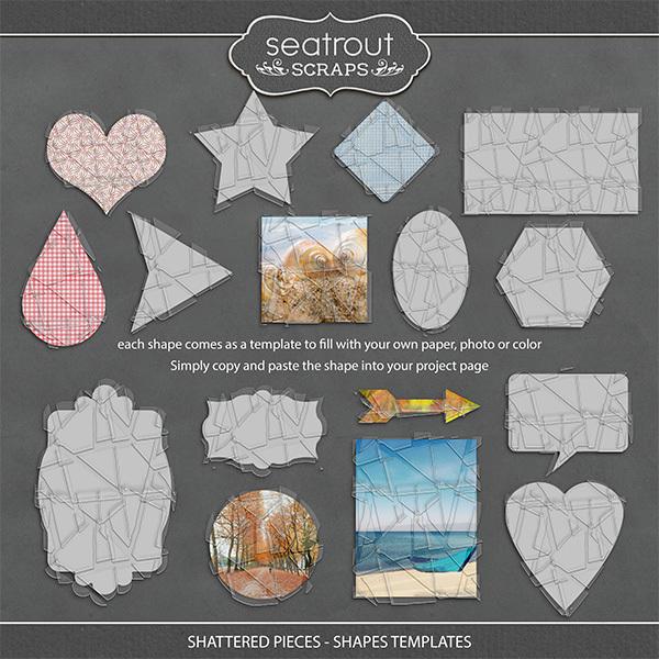 Shattered Pieces - Shapes Templates Digital Art - Digital Scrapbooking Kits