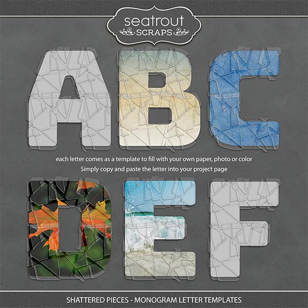Shattered Pieces - Monogram Letter Templates Digital Art - Digital Scrapbooking Kits