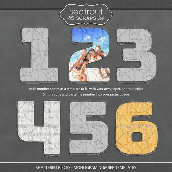 Shattered Pieces - Monogram Number Templates Digital Art - Digital Scrapbooking Kits