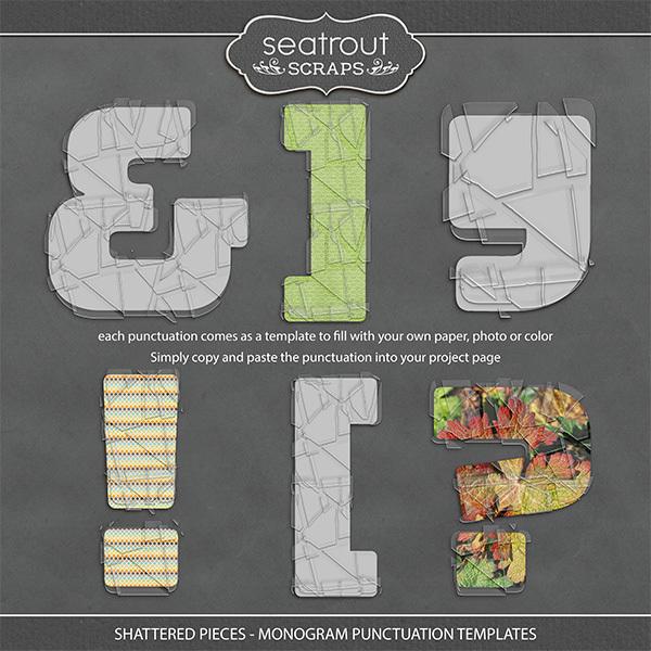 Shattered Pieces - Monogram Punctuation Templates Digital Art - Digital Scrapbooking Kits