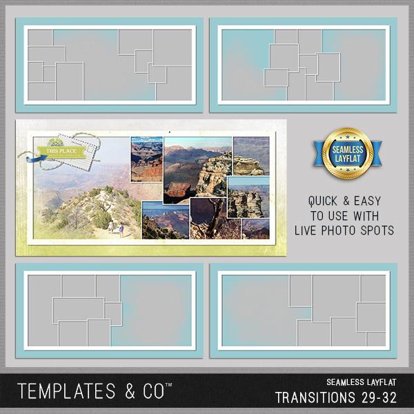 Seamless Layflat Transitions 29-32 Digital Art - Digital Scrapbooking Kits