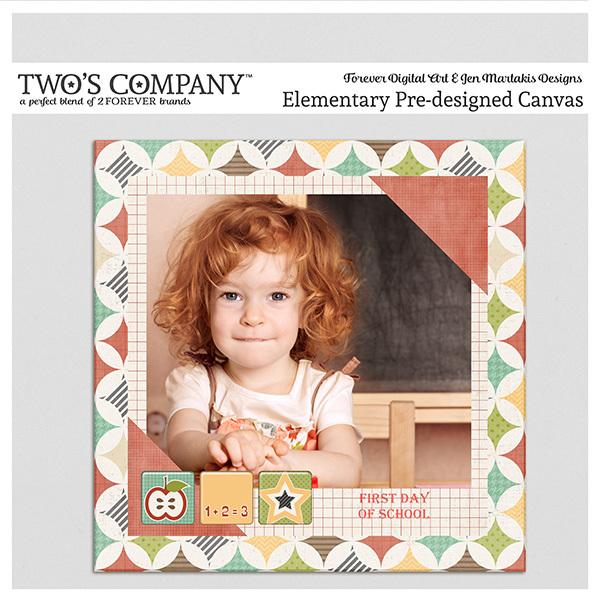 Elementary Pre-designed Canvas Digital Art - Digital Scrapbooking Kits