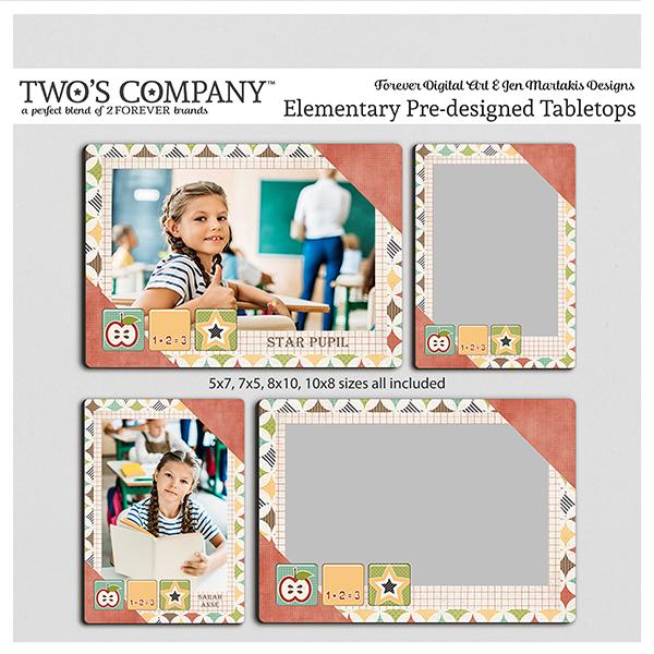 Elementary Pre-designed Tabletops Digital Art - Digital Scrapbooking Kits