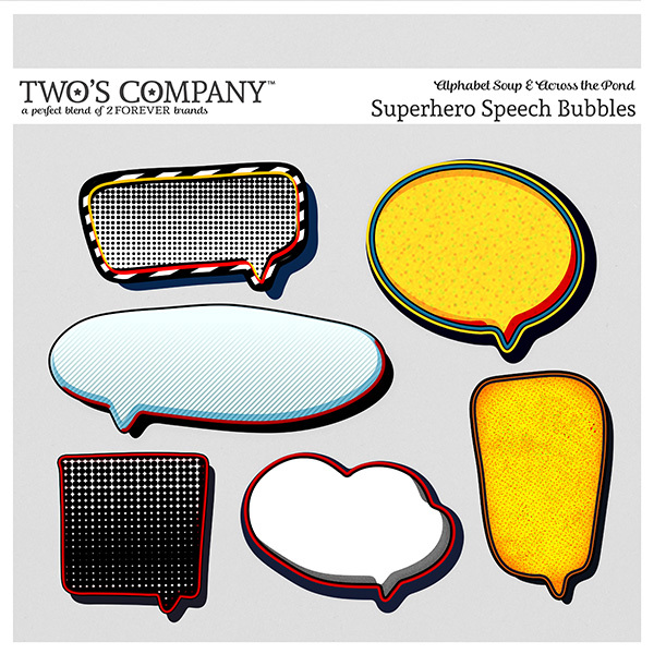 Superhero Speech Bubbles Digital Art - Digital Scrapbooking Kits