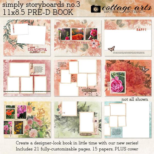 Simply Storyboards 3 - 11x8.5 Pre-designed Book Digital Art - Digital Scrapbooking Kits