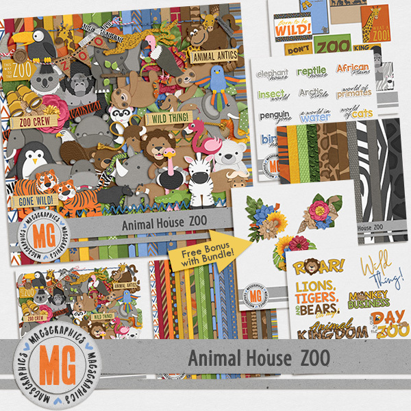 Animal House - Zoo Bundle Digital Art - Digital Scrapbooking Kits