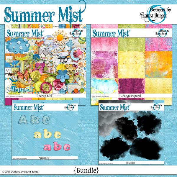 Summer Mist Bundle Digital Art - Digital Scrapbooking Kits