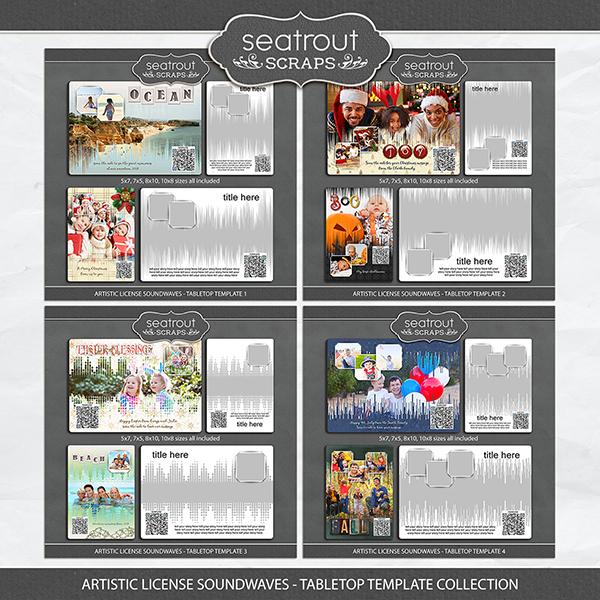 Artistic License Soundwaves -Tabletop Template Collection Digital Art - Digital Scrapbooking Kits