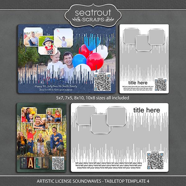 Artistic License Soundwaves -Tabletop Template 4 Digital Art - Digital Scrapbooking Kits