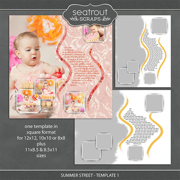 Summer Street - Template 1 Digital Art - Digital Scrapbooking Kits