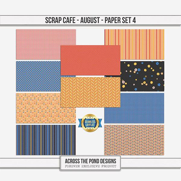 Scrap Cafe - August 2021 - Paper Set 4 Digital Art - Digital Scrapbooking Kits