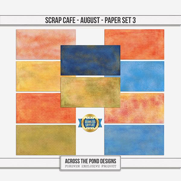Scrap Cafe - August 2021 - Paper Set 3 Digital Art - Digital Scrapbooking Kits