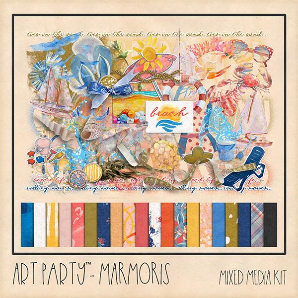 Marmoris Mixed Media Kit Digital Art - Digital Scrapbooking Kits