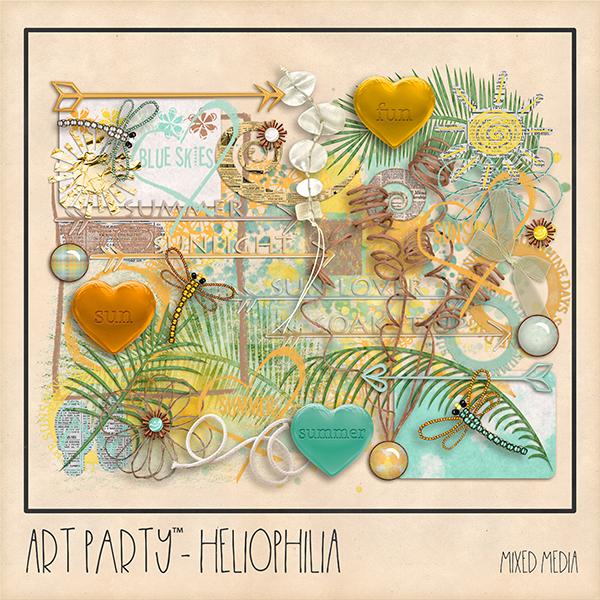 Heliophilia Mixed Media Embellishments Digital Art - Digital Scrapbooking Kits