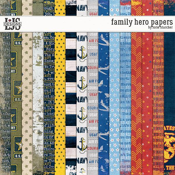 Family Hero Papers Digital Art - Digital Scrapbooking Kits