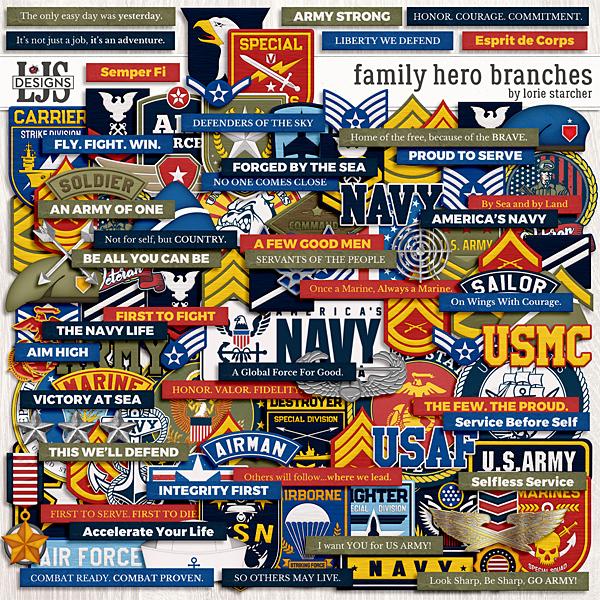 Family Hero Branches Digital Art - Digital Scrapbooking Kits