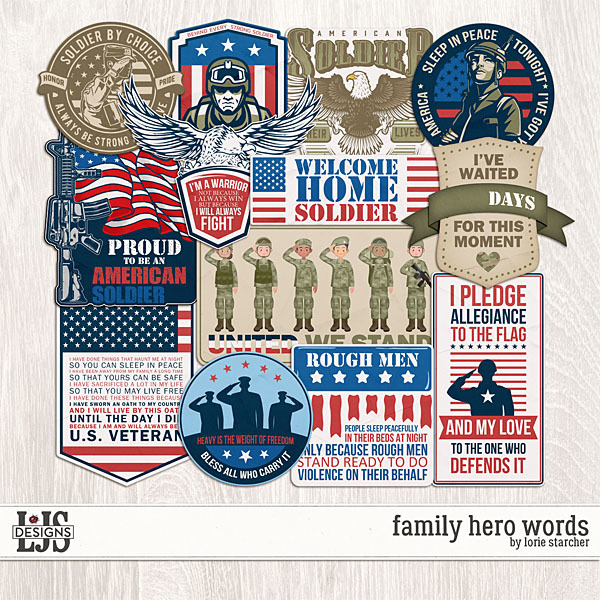 Family Hero Words Digital Art - Digital Scrapbooking Kits