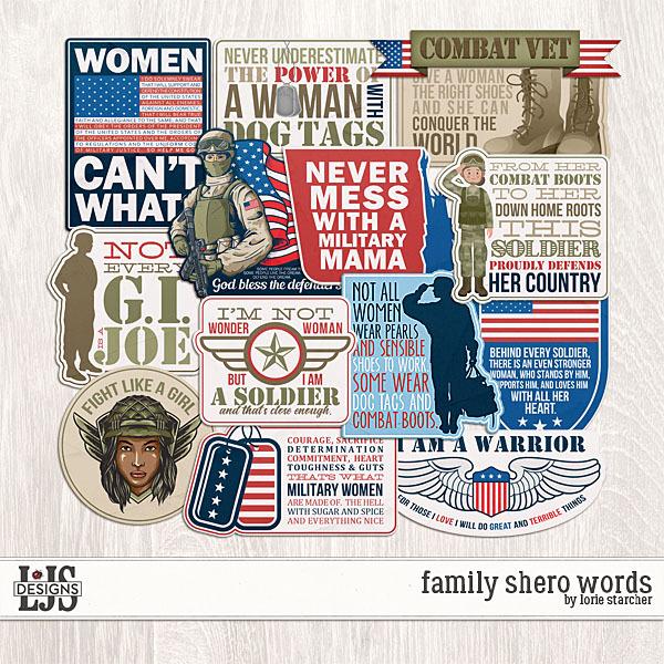 Family Shero Words  Digital Art - Digital Scrapbooking Kits