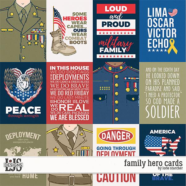 Family Hero Cards Digital Art - Digital Scrapbooking Kits